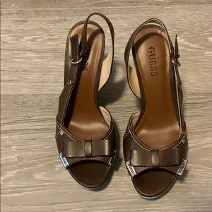 GUESS bow tie wedges (worn once)